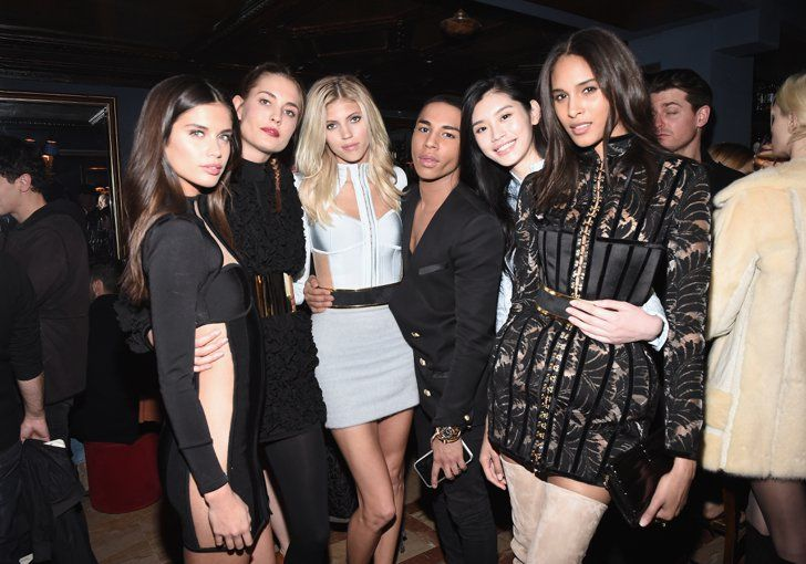 Pin for Later: Step Inside the Most Stylish Party of PFW With Gigi, Kendall, and the Balmain Army  Olivier posed with his Balmain Army, including Sara Sampaio, Devon Windsor, Ming Xi, and Cindy Bruna.