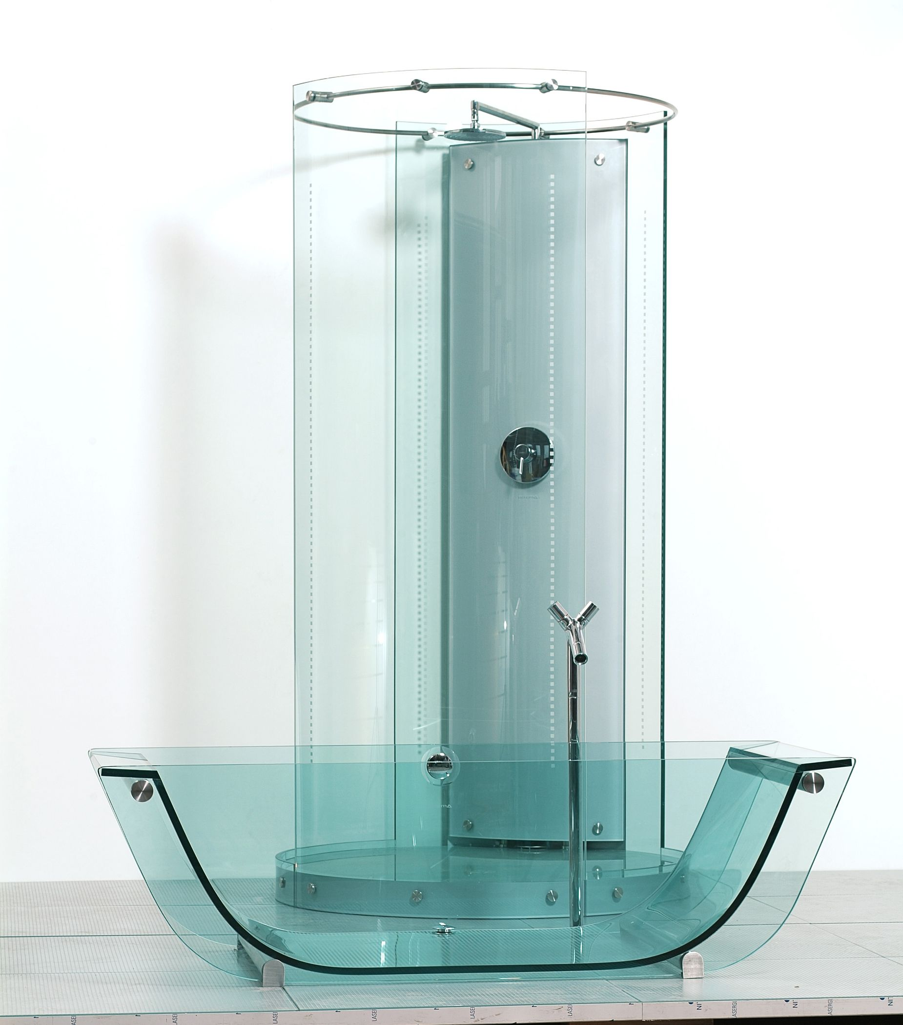 Glass Bathtub And Freestanding Circular Glass Shower By Prizma Glass Bath Collection Design