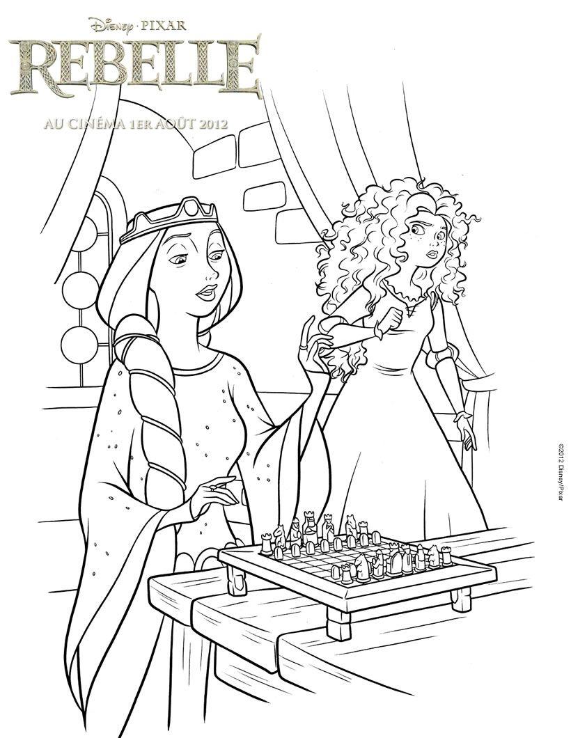 Un coloriage sur le conte disney de Rebelle avec ici Merida et la ...