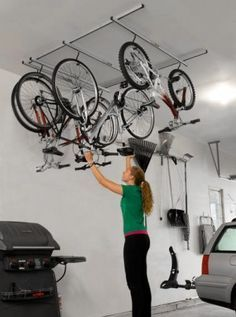 Hanging Bikes We Just Put Our Two Road Bikes Up Like This Today Our Mountain Bikes To Follow Bike Storage Bicycle Storage Bike Storage Garage