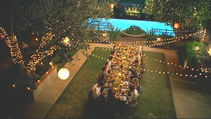 Backyard On Set Of Parenthood. Love Big Family Table And Lighting U0026 Love  This Show