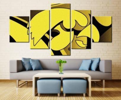 5 Panel Iowa Hawkeyes Sports Team Printed Canvas Wall Art ...