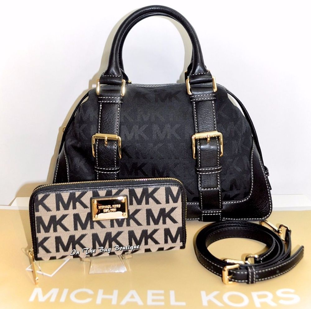 Michael Kors Brookville MK Signature Satchel Bag & Wallet Set Black/Beige NWT #MichaelKors #handbags #wallets