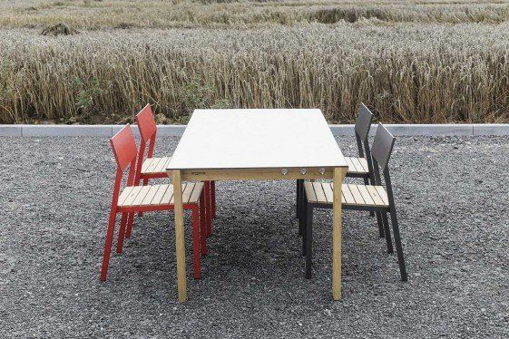 Ensemble Repas Exterieur Table Desa Rectangle 95x180 Cm Et 4