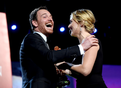 Michael Fassbender and Kate Winslet @ the 27th Annual Palm Springs International Film Festival Awards Gala at Palm Springs Convention Center on January 2, 2016 in Palm Springs, California.