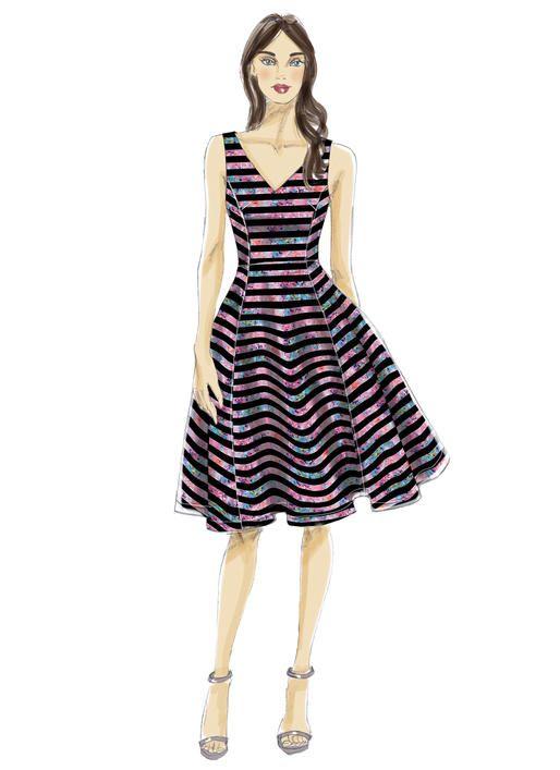 Nicole Miller for McCall's sewing pattern. M7503 Misses' Sleeveless, V-Neck Dresses