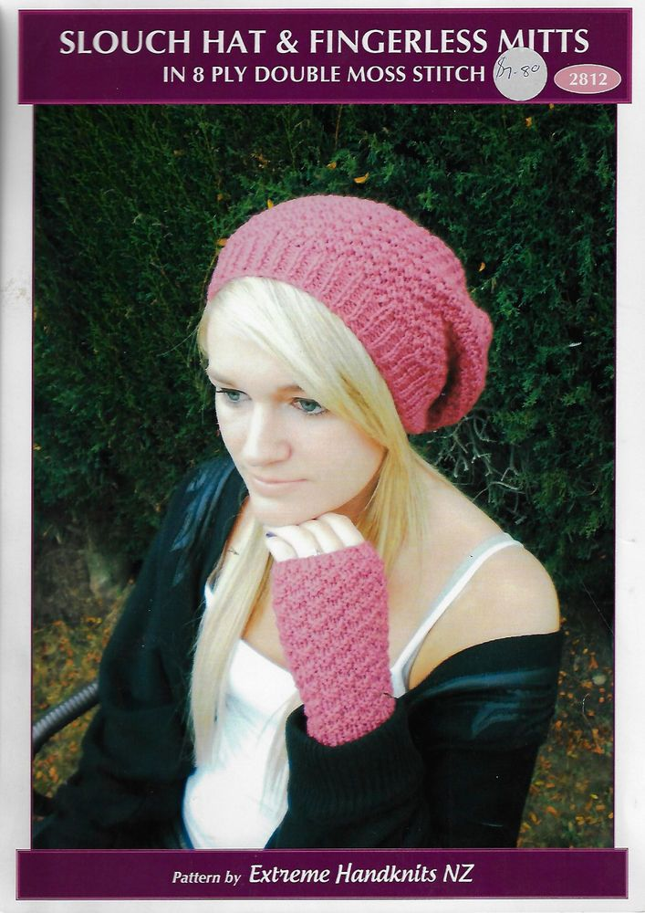 Women Slouch Hat & Fingerless Mittens Extreme Knits knitting pattern ...