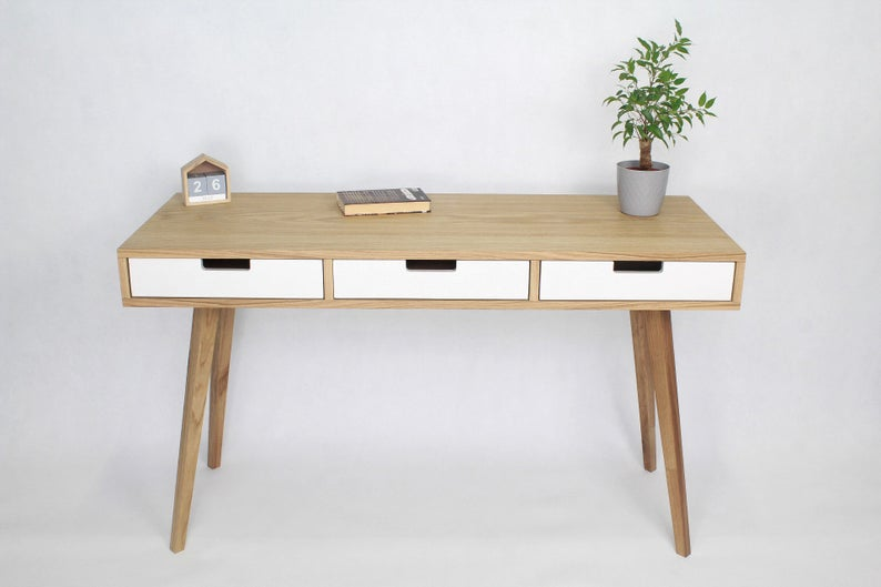Modern Wood Desk With Drawers In Scandi Style Writing Bureau Etsy In 2020 Desk With Drawers Modern Wood Desk White Computer Desk
