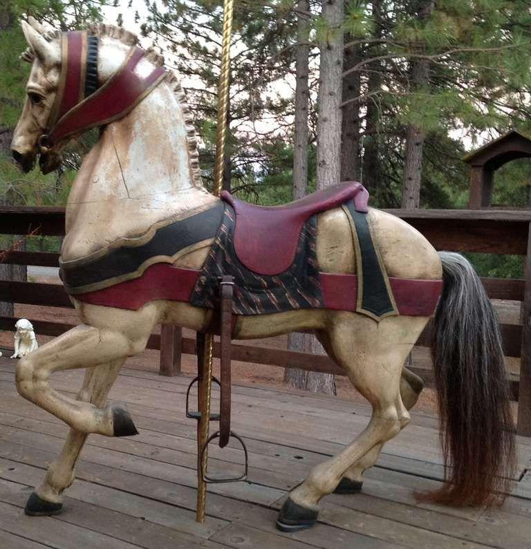 Turn Of The Century Dentzel Standing Carousel Horse Carousel