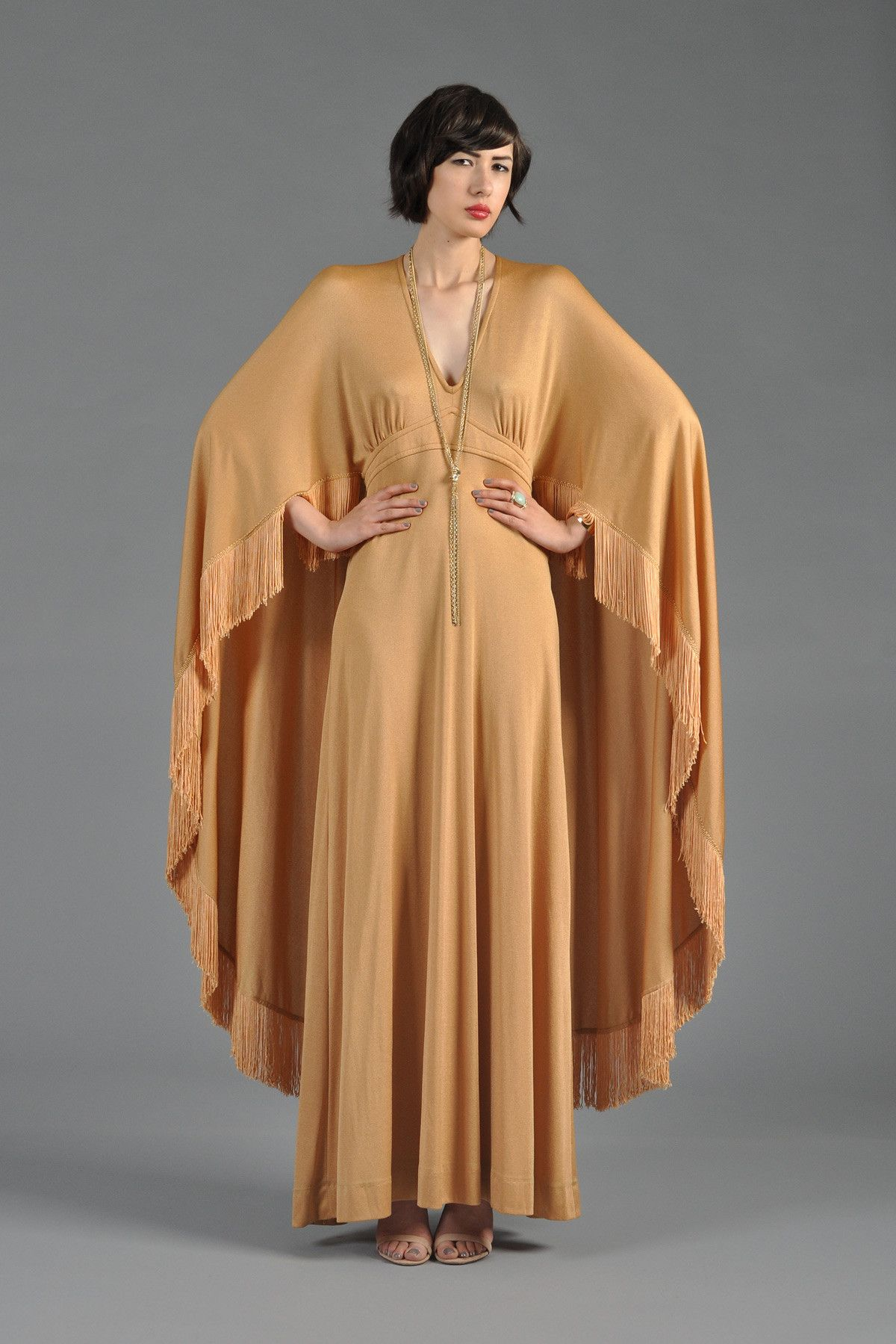 Golden draped maxi gown with fringed cape my style pinterest