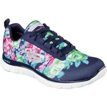 Skechers Women's Flex Appeal Training Sneaker Wildflowers/Navy/Multi Size 9  M, Blue