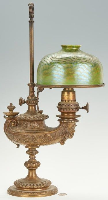 Tiffany Quot Aladdin Lamp Quot Pulled Feather Shade In 2020 With