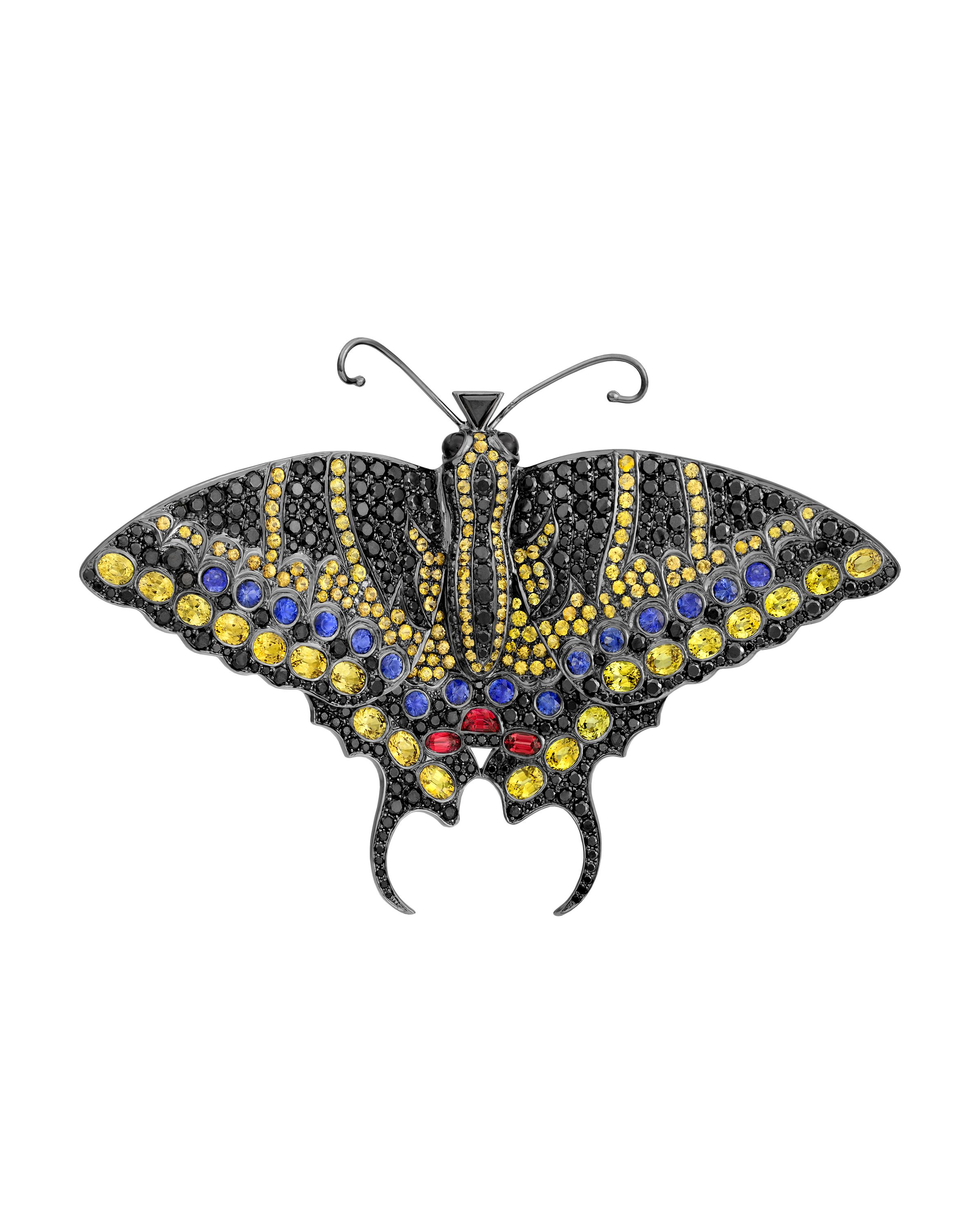 sapphire art sku antique butterfly nouveau ruby gold emerald silver topped diamond brooch