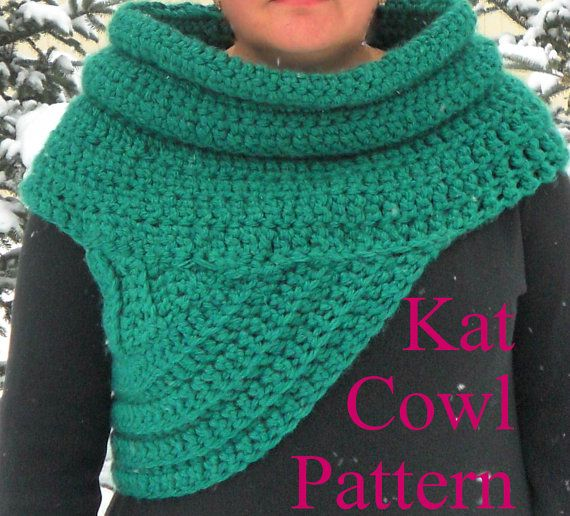 Kat Cowl Crochet PATTERN~ Wool Blend (Scarf Shawl Hunter Huntress ...