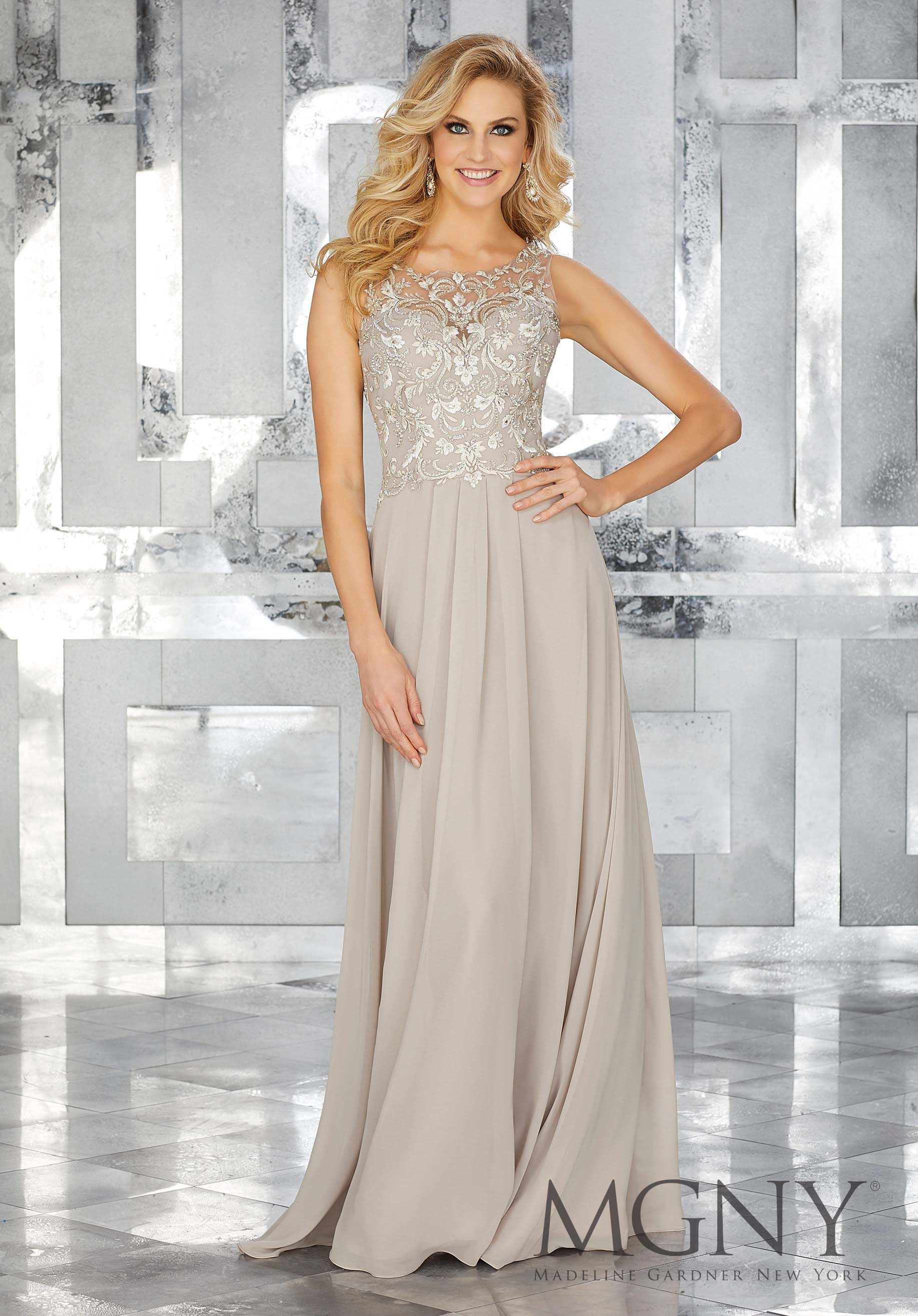 Chiffon special occasion dress with beaded embroidery on