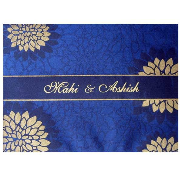 Mesmerizing #Blue - #Designer #WeddingCard by Nyota #DeepBlue #Beige - best of invitation cards for wedding price