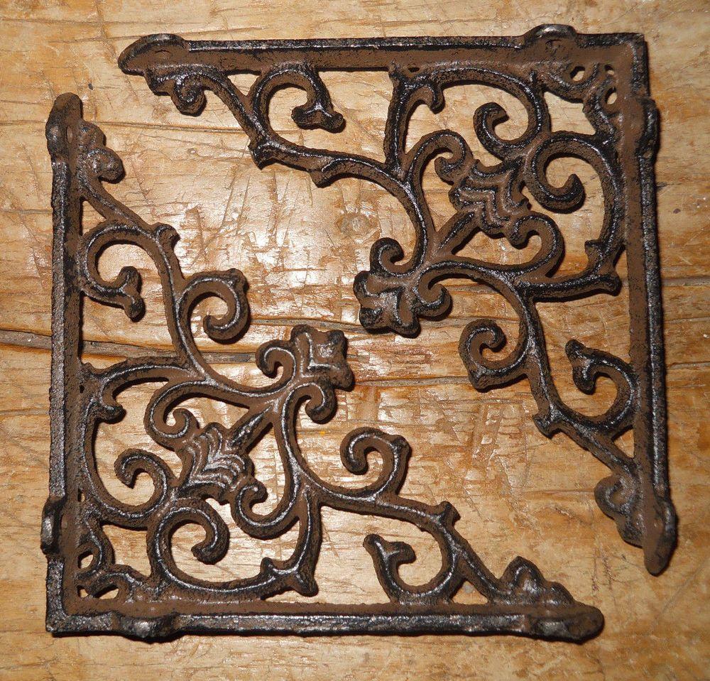 12 Cast Iron Antique Style HD Brackets Garden Braces RUSTIC Shelf Bracket