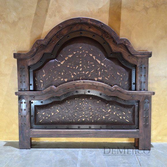 Western Tooled Leather Bed, Alamo - Demejico