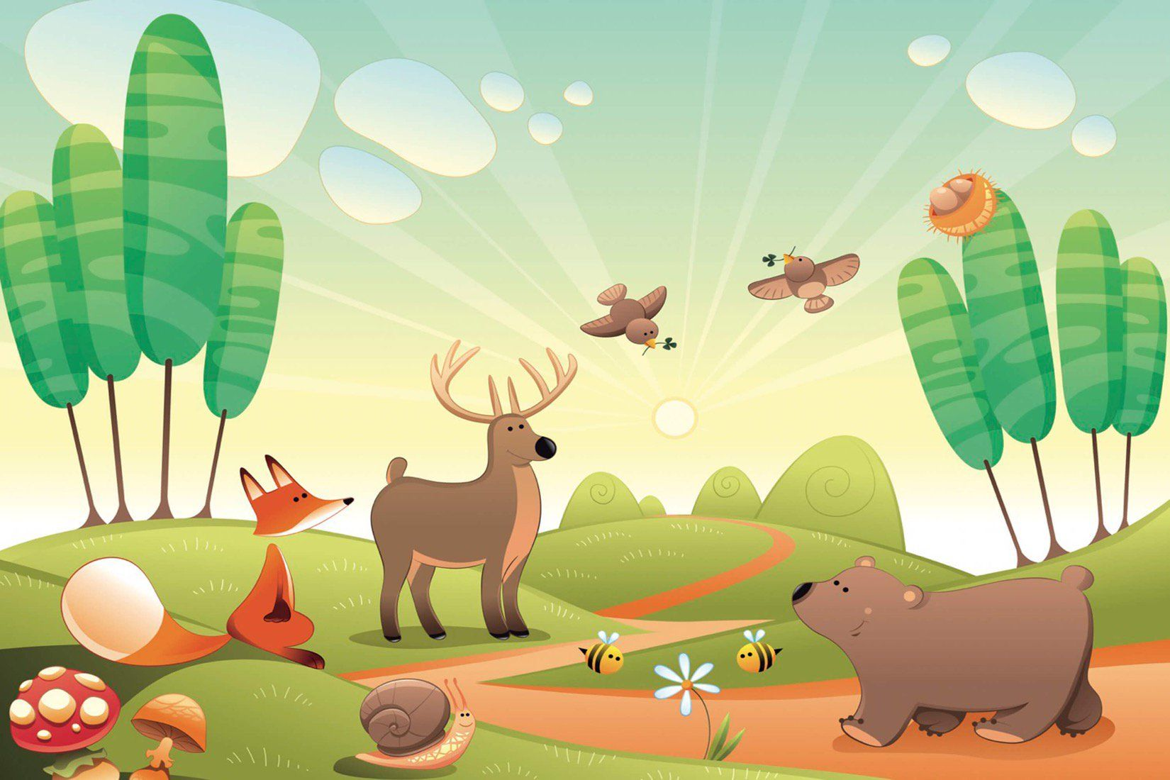 Cute Woodland Animals Wallpaper Mural Animal wallpaper