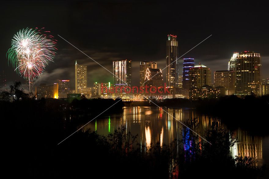 Colorful Fireworks Like The Austin Skyline On New Year S Eve In Downtown Austin Texas Austin Skyline Lady Bird Lake New Years Eve Fireworks