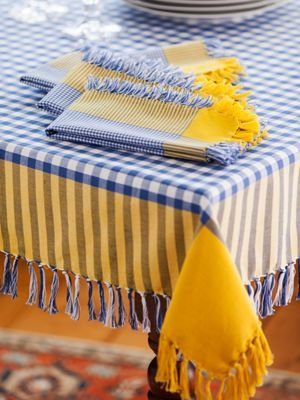 Blue And Yellow Bistro Tablecloth From Vermont Country Store.