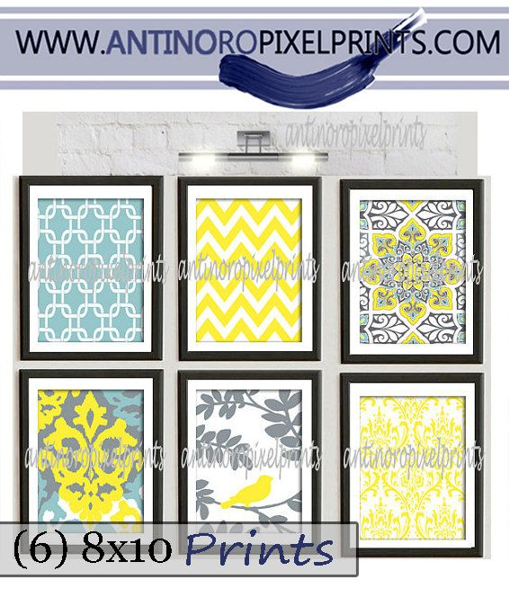Art Print Wall Art Yellow Turquoise Grey Modern inspired ...