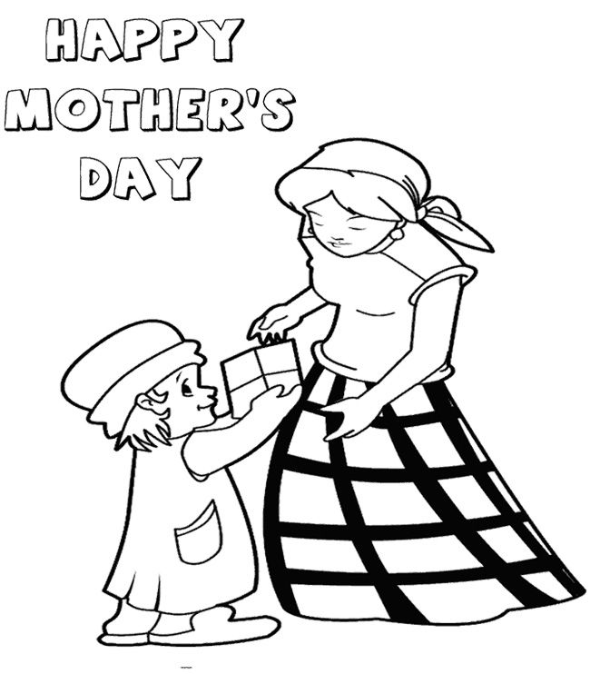 Children On Mothers Day Gift Giving Coloring Page