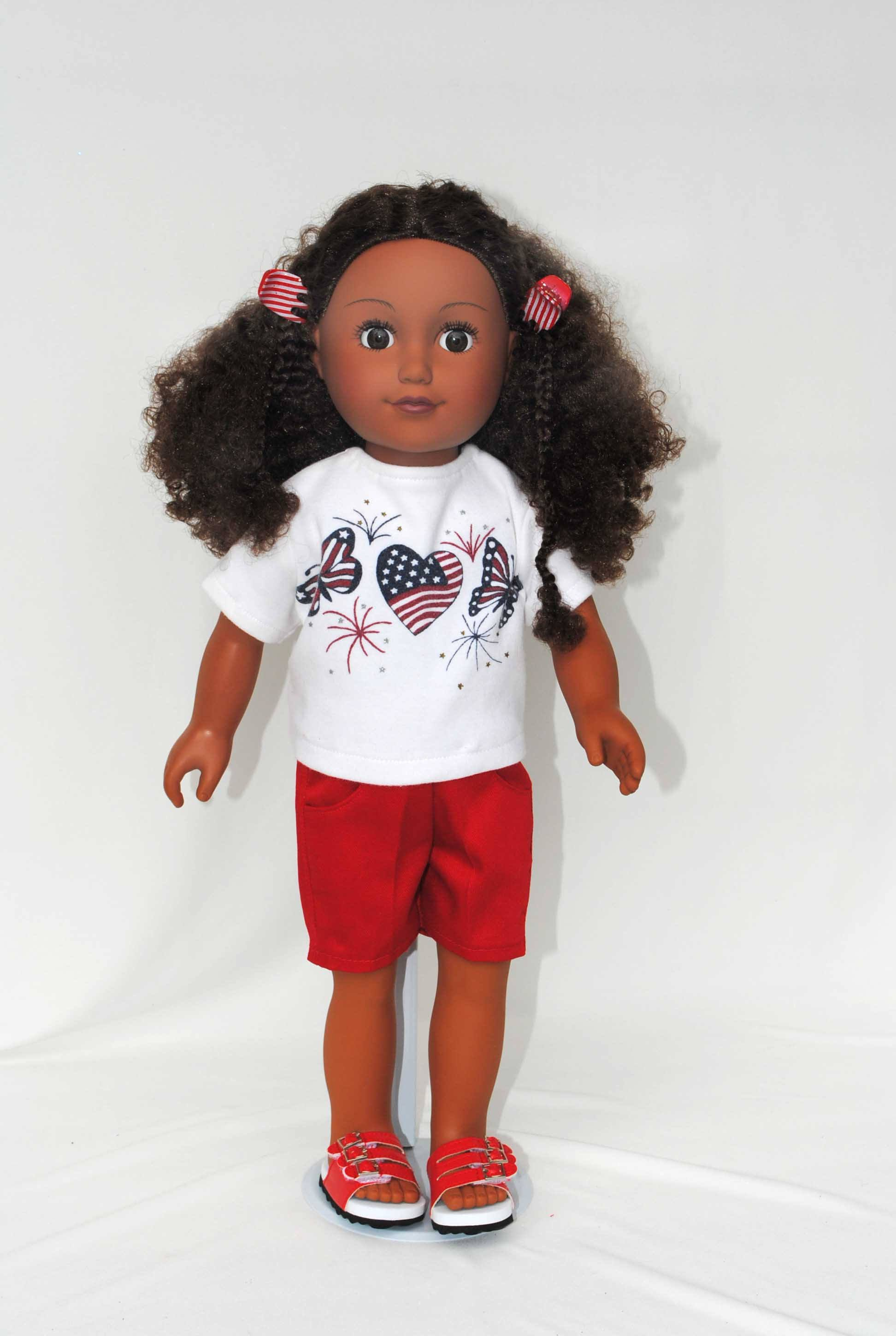 White Red Polka A Dot T-Shirt Made To Fit American Girl Doll Dolls Clothes