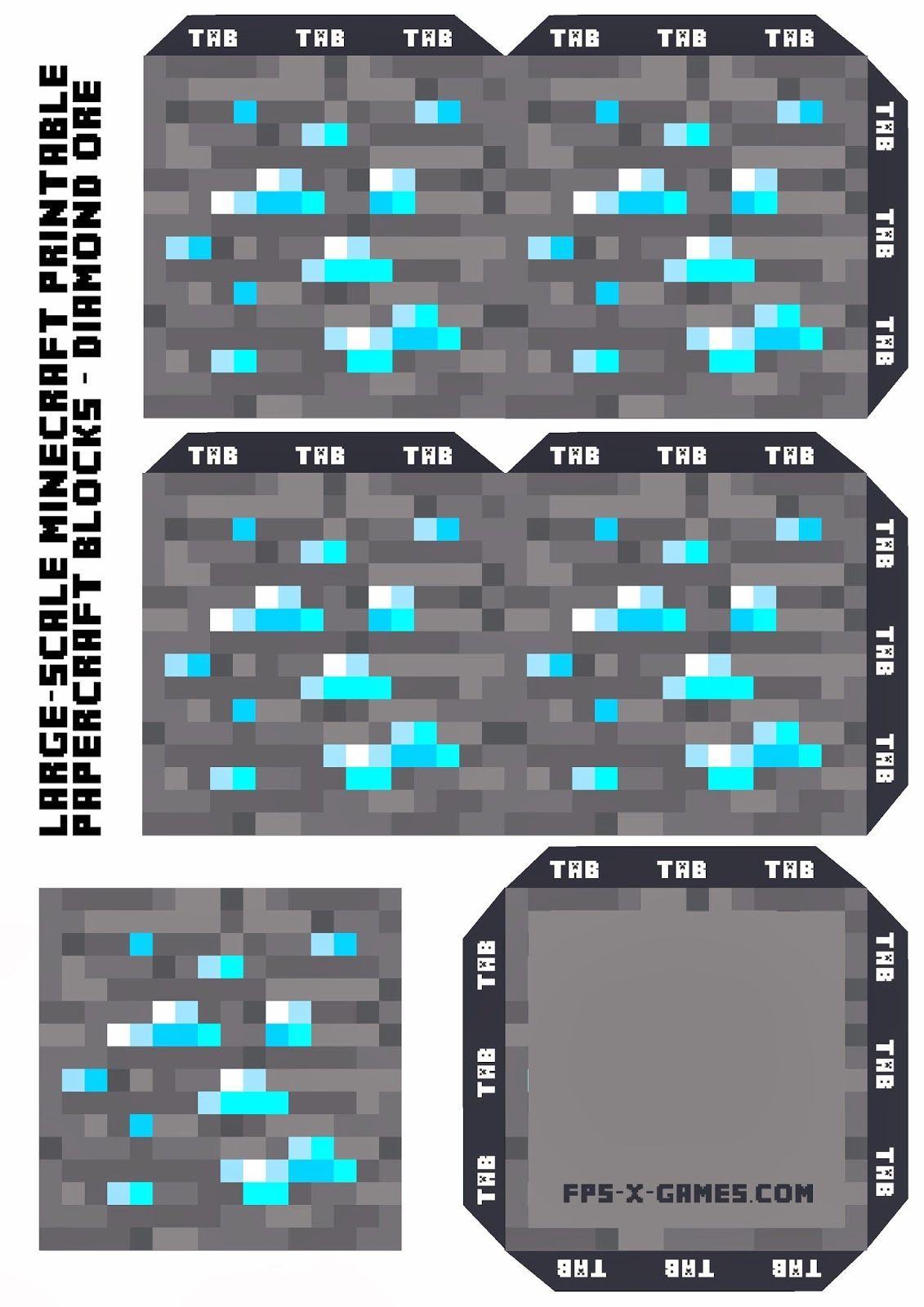 Large Scale Minecraft printable diamond ore | Birthday ...