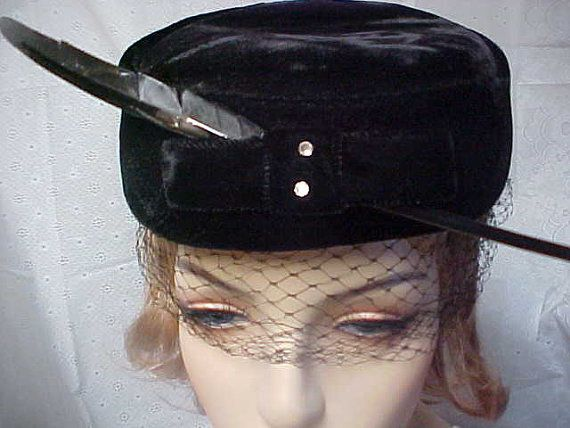 60's Black velvet pillbox hat with feather by designer2 on Etsy, $25.00
