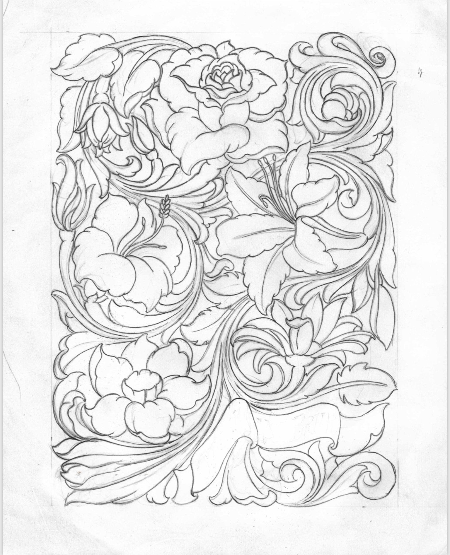 Floral Medley Pattern Leather carving, Leather tooling
