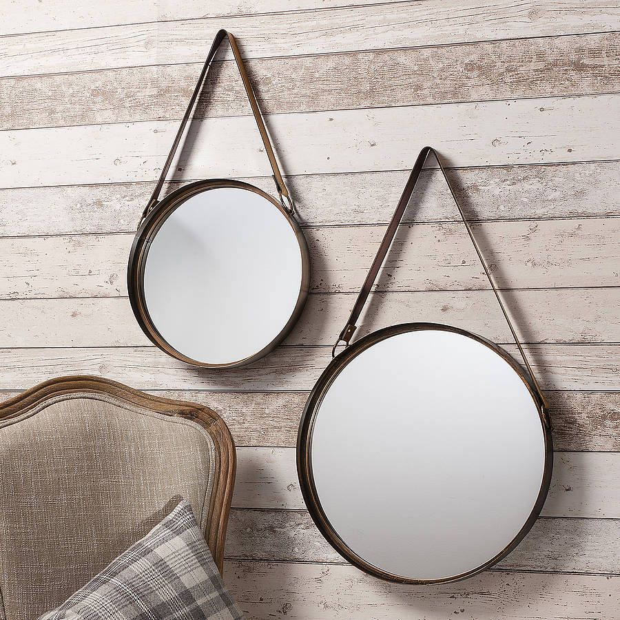 Industrial Round Hanging Mirror Set With Leather Strap By Primrose Plum Round Hanging Mirror Mirrors With Leather Straps Hanging Mirror