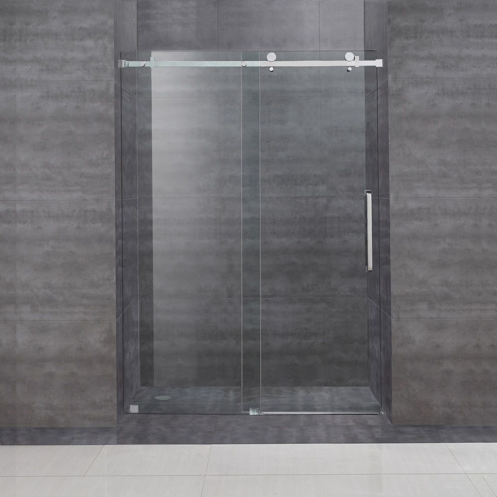 Aston 48 Inch Frameless Sliding Glass Shower Door Overstock