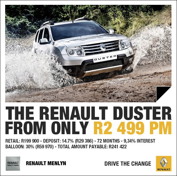 New Renault Duster From Only R2 499pm. Retail Price: R199
