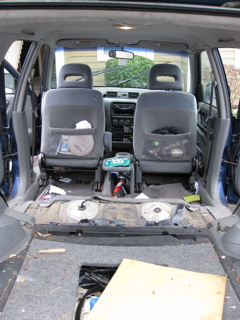 Rear seats removed, ready for the storage area to be built