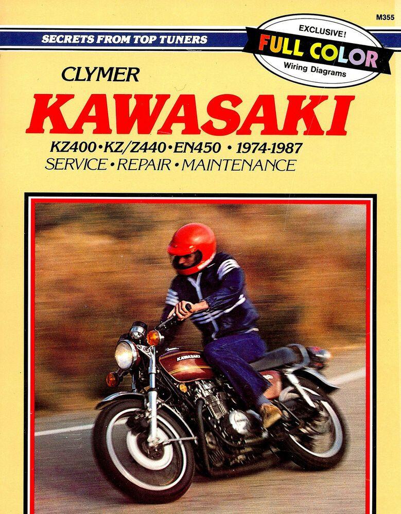 Ebay Sponsored 1974 To 1987 Kawasaki Kz400 En450 Motorcycle Service Manual Kz440 Z440 Kawasaki Motorcycle Motorcycle Model