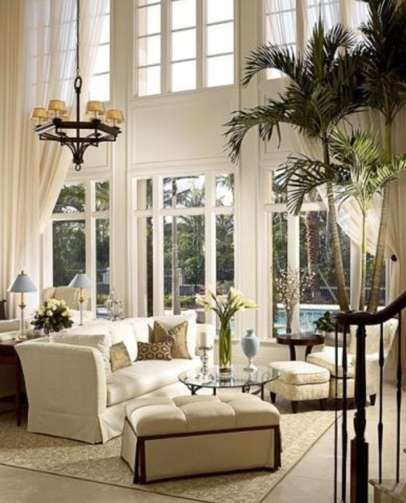 Two Story Window Treatments, Living Room, Decorating With White, Cocktail  Ottoman, Palm