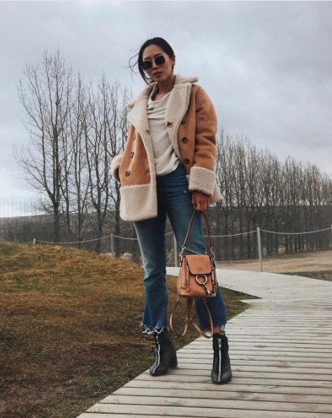 ad8a611c36 Aimee Song wears Chloé Suede And Leather Mini Faye Backpack. Shop now on  Style.com