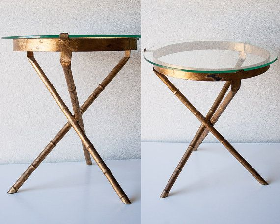 Vintage Gold Faux Bamboo Side Table Mid Century Glass Top Accent End Table  Tripod Legs