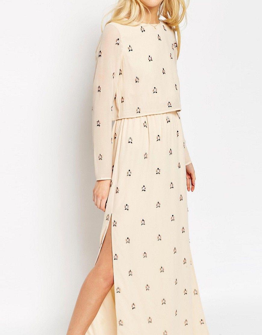 Image of asos embellished long sleeve crop top maxi dress