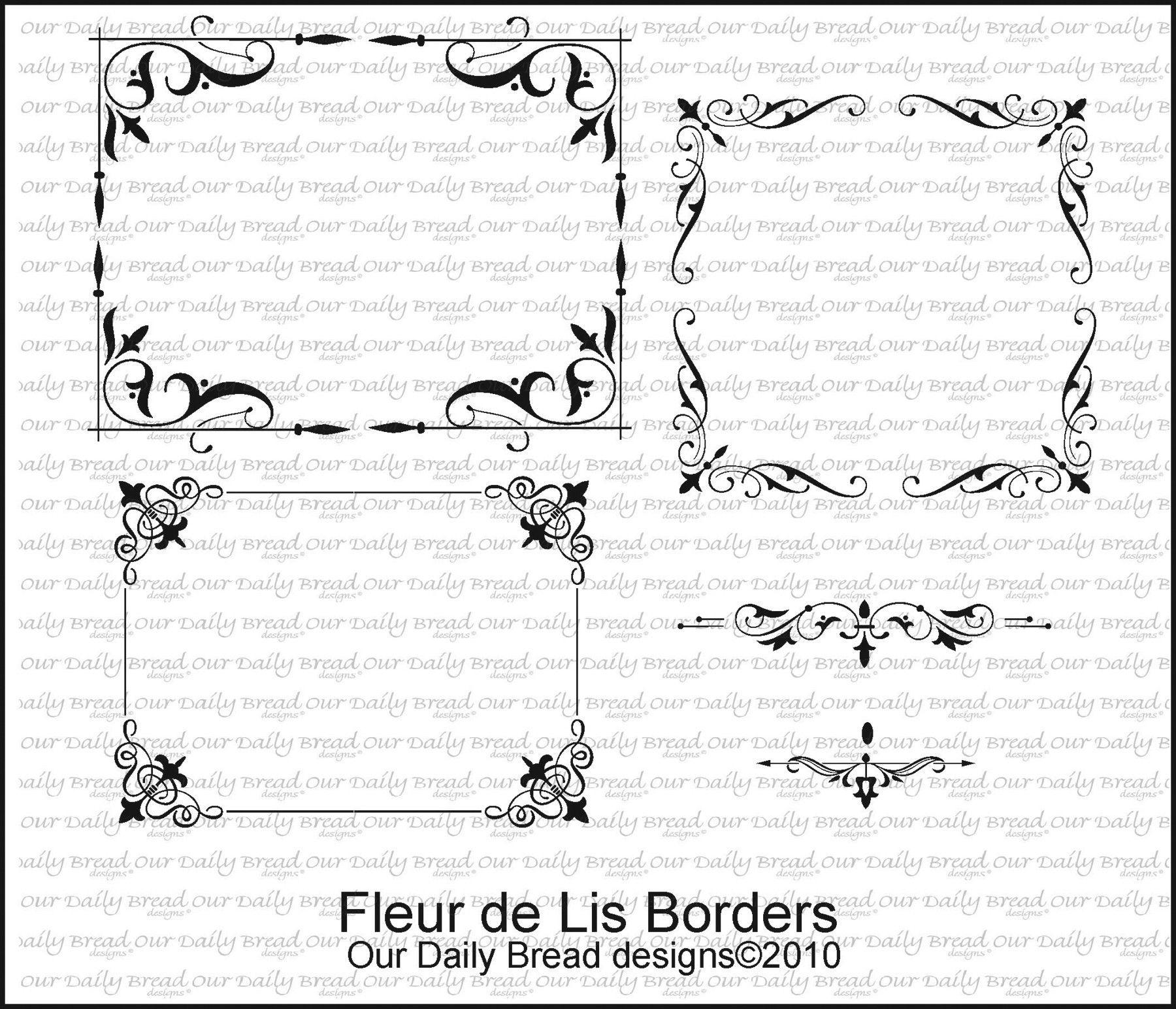 Fleur de lis borders chalkboard art design stamps