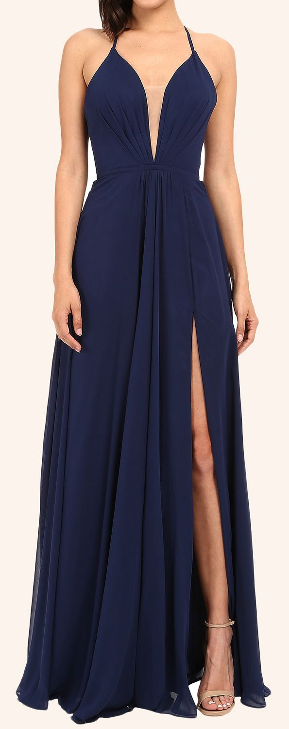 Straps v neck long prom dress with slit dark navy formal gown