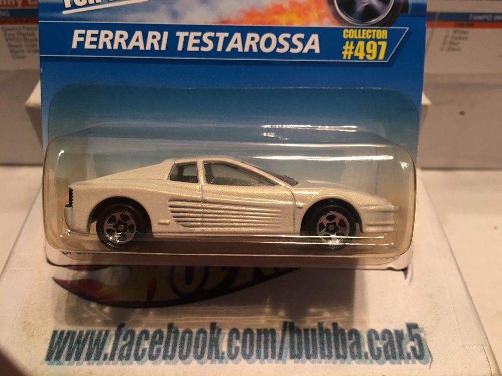 Hot Wheels Blue White Card 497 Ferrari Testarossa 5sp White Vintage Ferrari Testarossa Hot Wheels Ferrari