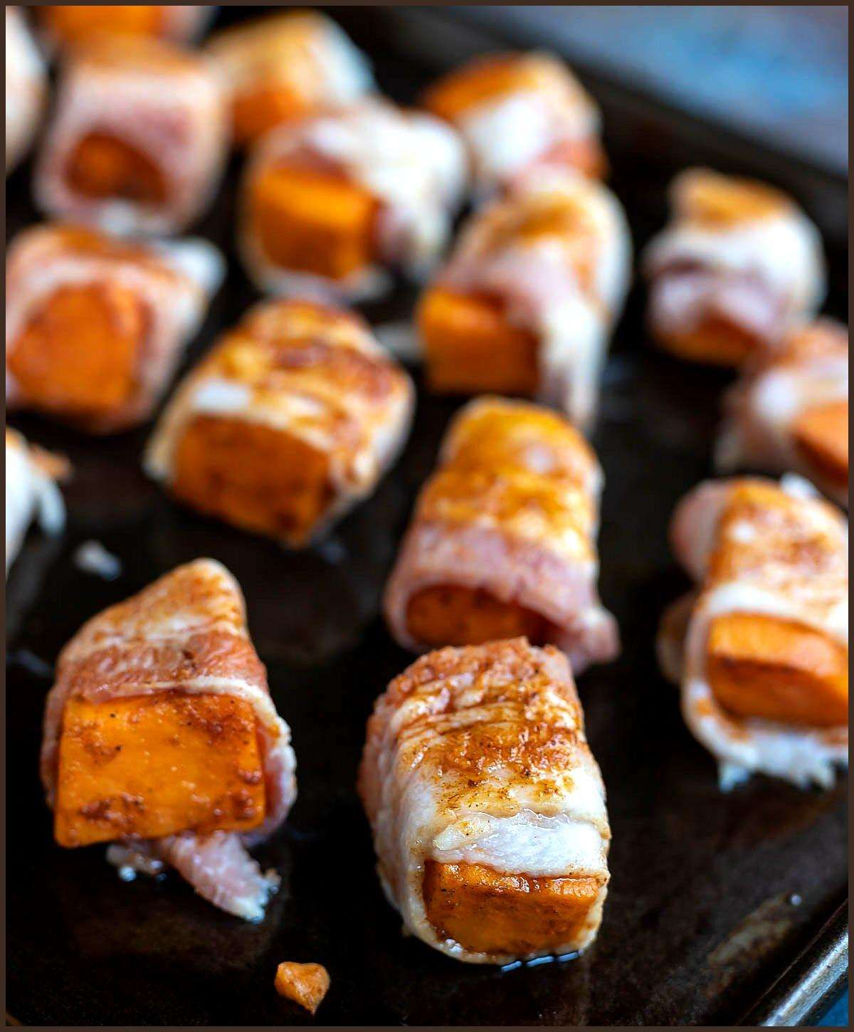 These Bacon Wrapped Sweet Potatoes are a fantastic Whole 30 holiday appetizer. S… appetierz bacon