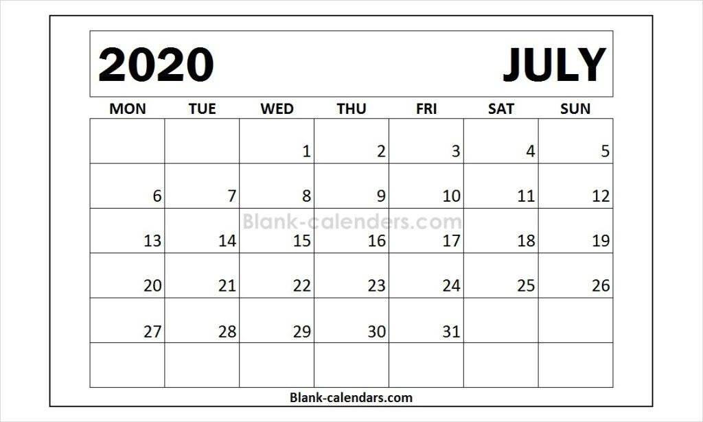 Download Printable July 2020 Calendar Monday Start Templates