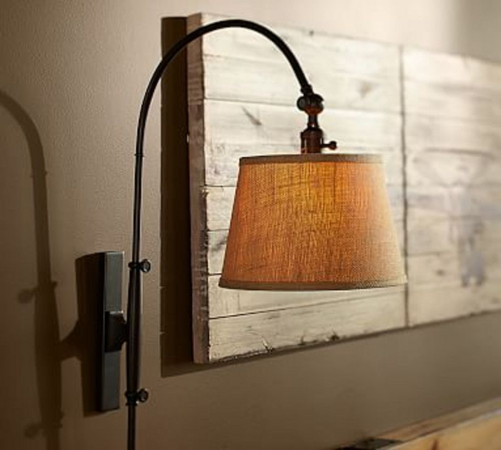 Pottery Barn - Fall 2016 D2 - CFL Adjustable Arc Plug-In Sconce with Plug-In Sconce with Burlap ...