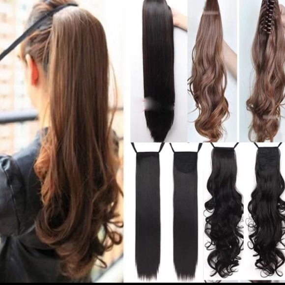 synthetic straight tieup ponytail hair extnsion New. Available in wavy and straight in black, red, light brown and dark brown Accessories Hair Accessories