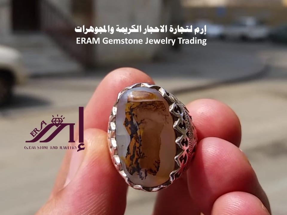خاتم عقيق يمني مصور مميز طبيعي100 Agate للعرض Gemstone Jewelry Gemstones Jewelry