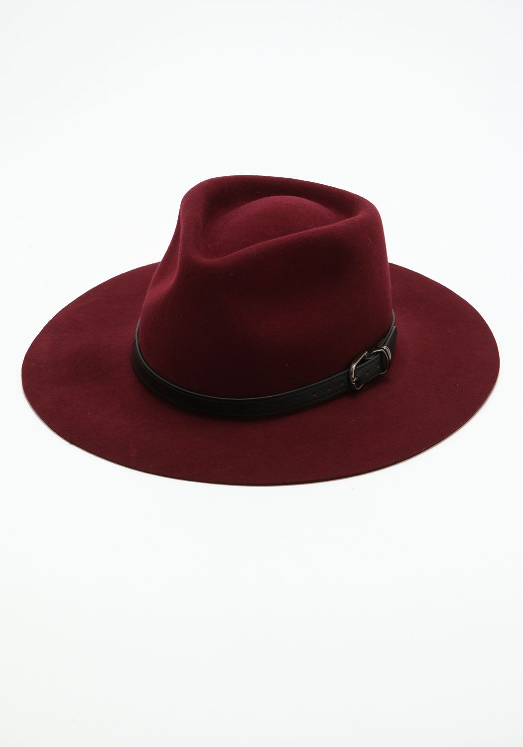 ** Burgundy Belt Buckle Fedora Hat from Love Culture