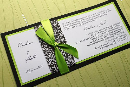 Apple Green and Black Damask Wedding Invitations | Sormi's